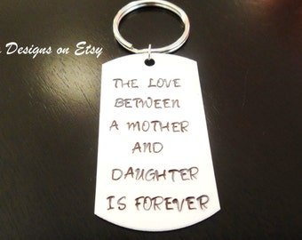 Mother Daughter Forever Love Mother's Day Handstamped Key Chain