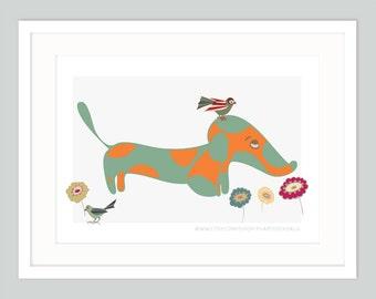 Dachshund Puppy Art Print | Dog Wall Art