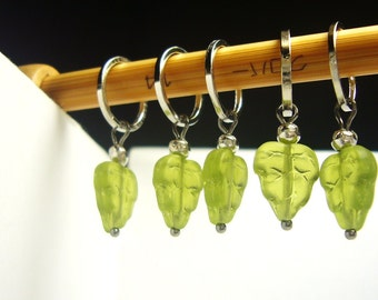 Green Leaves stitch markers, id1330308, knitting stitchmarkers, pattern aides, snagless, yarn markers, handmade
