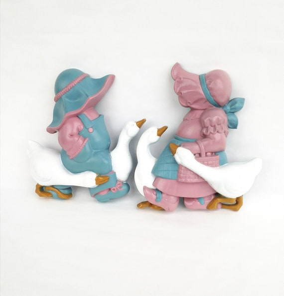 Set of 2 Vintage Holly Hobbie Style Resin Wall Plaques by Burwood Production Company