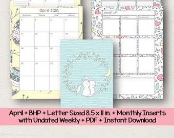 April-Big Happy Planner-Letter Size 8.5 x 11 in-Monthly Insert-Undated Weekly Insert-Bonus Cover/Divider-PDF-Instant Download