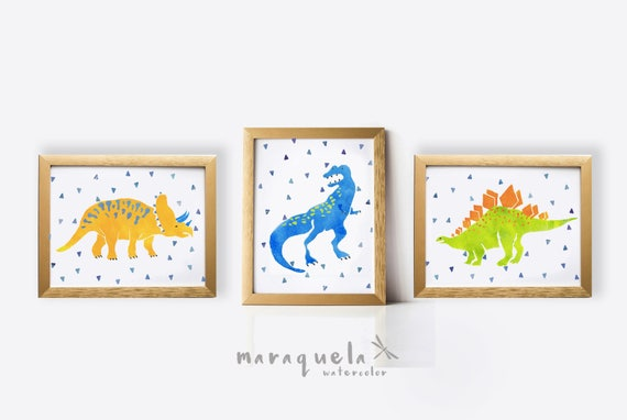 DINOSAURS SET, 3 illustration for kids, child, baby, newborns. Blue, Green and Light Orange hues.