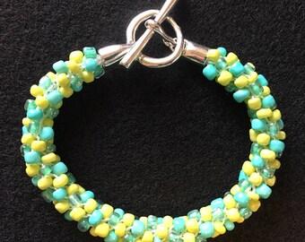 Aqua Lime Kumihimo Beaded Bracelet