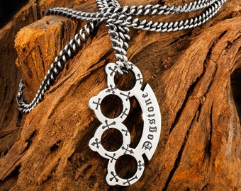 Handmade 925 Sterling Silver Cemetery Park Brass Knuckles / Knuckle Duster Pendant and Heavy Curb Chain Necklace