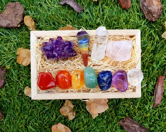 Healing Crystals and Stones Chakra Set + 7 Tumble Stones Set Perfect Gift, Amethyst Cluster, Rose Quartz, Meditation, Reiki, Energy Healing