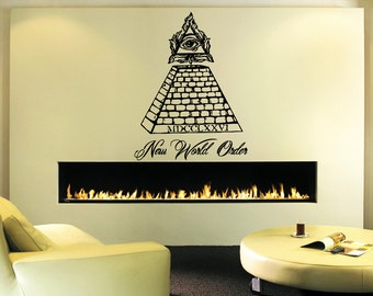 Wall Decal Sticker Bedroom illuminati logo eye Mason piramyd new world order 207b