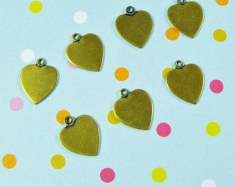Mothers Day Sale 10 Pack New Antique Finish Brass 11X10mm Heart Charms