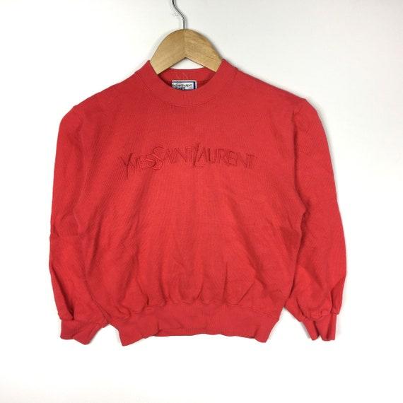Rare!!! Vintage YSL Yves Saint Laurent Sweatshirt Embroidered Pullover Jumper Sweater medium 2RpopFWQZ8