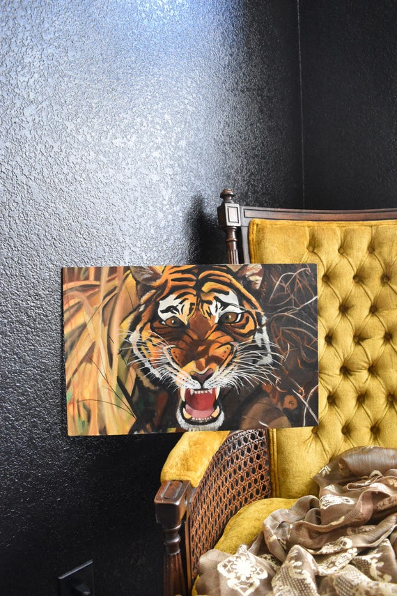 original wild tiger roaring painting / jungle safari / african