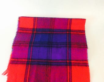 Red Plaid Scarf Firenze Cashmere Feel Scarf 100% Acrylic Tartan Plaid Winter Fringe Edges Scarves Ski Vintage Accessories Retro Attire