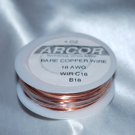 18 gauge - 4 oz Spool of Bare Copper Wire 18 Gauge thick (( 49.7 ...