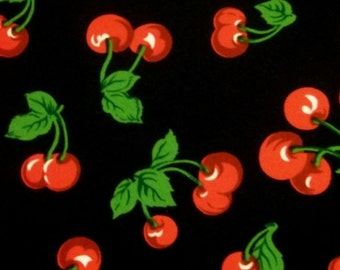 AWESOME Pin-Up Rockabilly Cherries Cherry Non Stretch Twill Fabric BTY