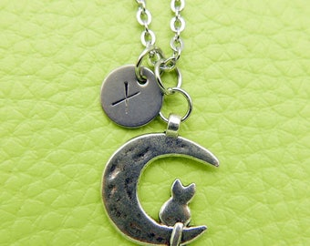 Cat and moon Initial Necklace Monogram Stainless steel chain