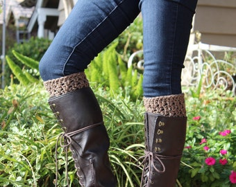 Boot Cuffs- Brown Boot Cuffs- Womens' Boot Cuffs- Crochet Boot Cuffs- Boot Socks- Boot Toppers, GladstoneCottage