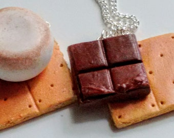 S'mores Best Friends Necklaces - Miniature Food Jewelry - Inedible Food Jewelry - Kawaii Jewelry - Best Friends Jewelry - Smores Jewelry