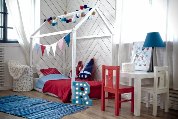 Children bed CRIB size toddler bed play tent baby bed Wooden bed house bed nursery crib teepee bed Montessori furniture SLATS & Children bed CRIB size toddler bed play tent baby bed