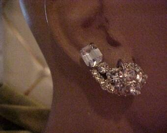 """Vintage 1950s Rhinestone Earrings, Clip on, 1 1/4""""Never worn   #3102"""