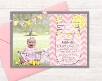 Lemonade Birthday Invitation - Girls First Birthday Lemonade Invitation - Invite - Mason Jar Chevron Bunting Lemonade Stand Photo Invitation