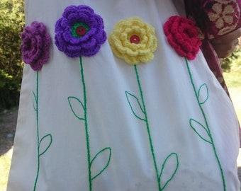 Crochet Flowers Bag, Tote Bag, Shoulder bag, Handbag, College tote bag, Cotton tote bag, Cotton Bag, Big Tote Bag, Shopping bag, Gift