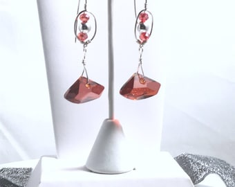 Sterling silver and red magma Swarovski crystal earrings with marquis ear wires for your wife or daughter to show how much you love her