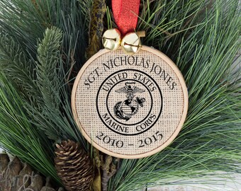 Personalized USMC Christmas Ornament, Marines Christmas Gift, Ornament, Christmas Decorations, Custom Ornament, Holiday Ornament