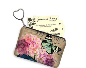 Cottage Chic Zipper Coin Purse Keychain Fob  Business Card Case Small Zipper Pouch bridesmaid gift Pink Hydrangea Floral, Butterfly RTS