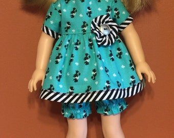 """Poodle top and bloomers for the 14.5"""" doll or wellie"""