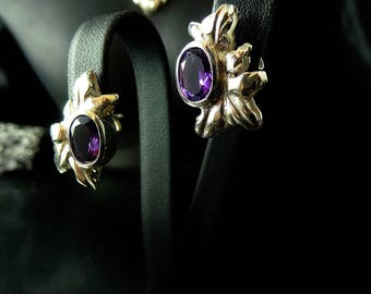 Earrings, amethyst, sterling silver, fantasy, Art Nouveau