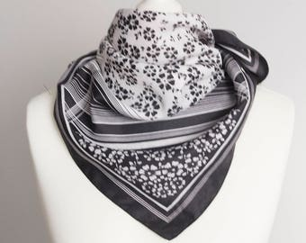 """vintage Square scarf, polyester scarf, fabric women scarf shawl 66cm / 26"""" floral scarf, black white"""