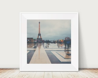 Paris photography, Paris art prints, large wall art, Eiffel Tower photograph, Paris in the rain, travel photography, wanderlust