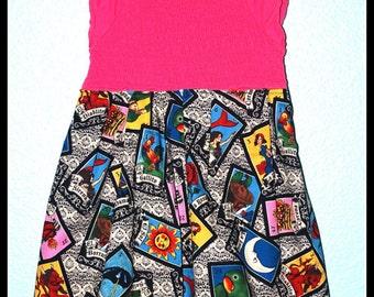 Girls Rockabilly Dress in Taro Cards in Pink ........Size 7-8