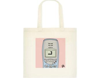 Nokia 3210 Snake 90s Nostalgia Cotton Tote Shopping Bag 1990s Technology Mobile Cell Phone