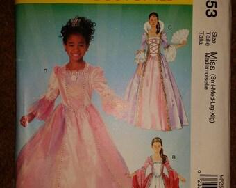McCalls MP253/M5731 renaissance style dress pattern. Misses sizes Sm-Xlg uncut