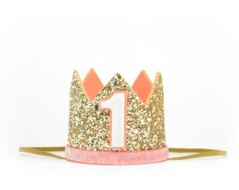 First Birthday Crown | 1st Birthday Party Hat |Gold Glitter Crown | Birthday Girl Outfit | Birthday Outfit Girl | Birthday Party Blush Crown