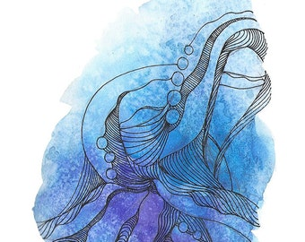 "Octopus Painting - Cast Offtopus  - Fine Art Giclee Print of 8""x10"" Blue Watercolor Painting"