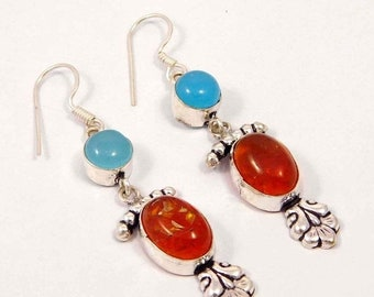 Created Amber & Blue Chalcedony Silver Plated Earrings  Jewelry