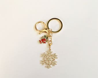 Crystal Snowflake and Holiday Bells Keychain
