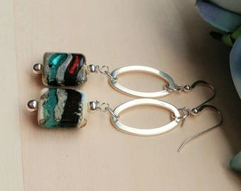 Artisan Lampwork and Silver Accent Earrings