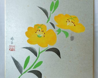 VJ543: Painting on a shikishi board,Japanese watercolor/ink painting on a silver color shikishi board ''Flowers'',Artist sign