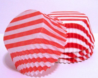 Red Stripe Cupcake Liners- Choose Your Quantity