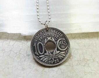 Coin Jewelry - Antique France 10 centime COIN NECKLACE - French jewelry -  Republique Francaise - Art Nouveau coin pendant - francophone