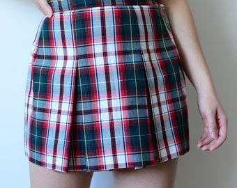 vintage 90's plaid pleated school girl mini skirt red blue flannel plaid classic uniform hipster goth punk grunge mirco skirt
