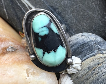 Turquoise Ring, Damele Turquoise Ring, Sterling Silver Ring, Size 8 Ring