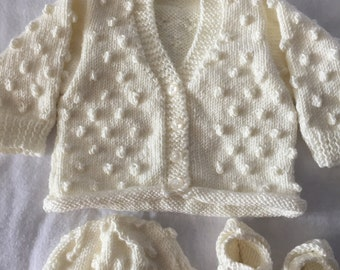 0 - 3 Months Hand Knitted Baby Cardigan Set