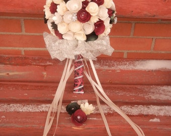 XL Handmade Paper Wedding Bouquet Bride or Bridesmaids Bouquet ANY Colors Free matching Boutonniere