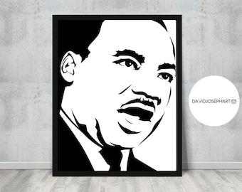 Martin Luther King, Scandinavian Print, MLK, Pop Art, American Print, Black Lives Matter, Famous Person, Instant Download, Digital Download