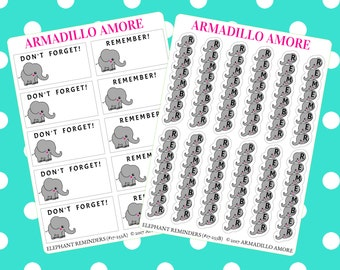 253 | Elephants Never Forget Reminder Stickers {10+ Fancy Matte or Glossy Planner Stickers}