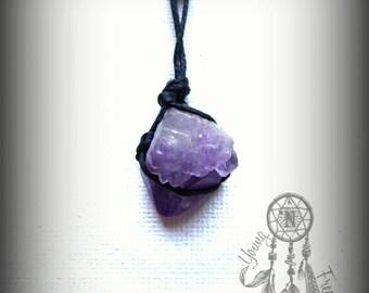 Raw Amethyst Necklace February Birthstone Long Pendant Purple Gemstone Boho Bohemian Hippie Healing Crystal Gift for Her Nature Reiki Chakra