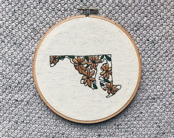 M A R Y L A N D), embroidery hoop, hoop art, custom hand embroidery, hand stitched, baltimore