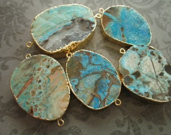1 5 10 pc, Ocean Jasper Pendant Charm Link Connector, 30-50 mm, 1-2 inch, Turquoise Aqua Blue, Gold Electroplated, double bail,  ap40.4